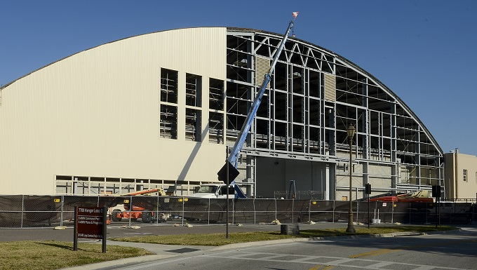 The 6th Civil Engineer Squadron reconstructs Hangar 2 to extend its lifespan Dec. 2, 2016, at MacDill Air Force Base, Fla. Reconstruction began Aug. 8, 2016, and is scheduled for completion April 3, 2017. (U.S. Air Force photo by Senior Airman Jenay Randolph)