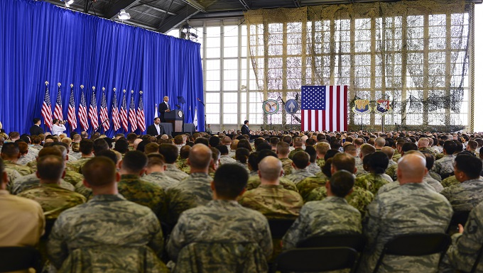President Barack Obama addresses members of Team MacDill during a visit to MacDill Air Force Base, Fla. Dec. 6, 2016. The president discussed counter terrorism measures, national security and highlighted accomplishments of the U.S. military.